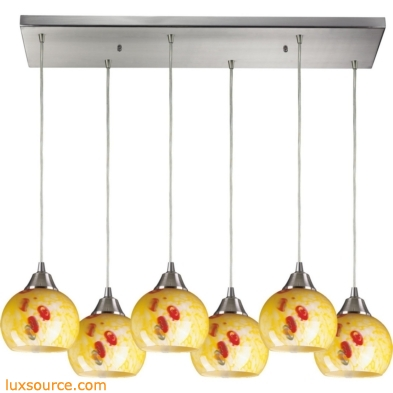 Mela 6 Light Pendant In Satin Nickel And Yellow Blaze Glass 101-6RC-YW