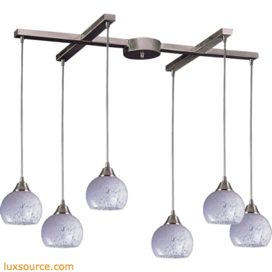 Mela 6 Light Pendant In Satin Nickel And Snow White Glass 101-6SW