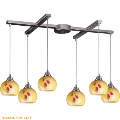 Mela 6 Light Pendant In Satin Nickel And Yellow Blaze Glass 101-6YW