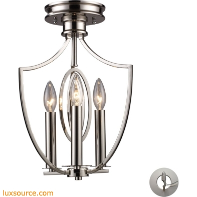 Dione 3 Light Semi Flush In Polished Nickel - Includes Recessed Lighting Kit