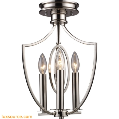 Dione 3 Light Semi Flush In Polished Nickel