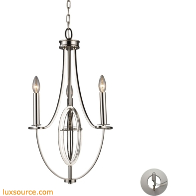 Dione 3 Light Chandelier In Polished Nickel - Includes Recessed Lighting Kit