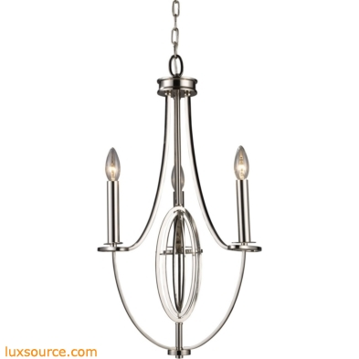 Dione 3 Light Chandelier In Polished Nickel