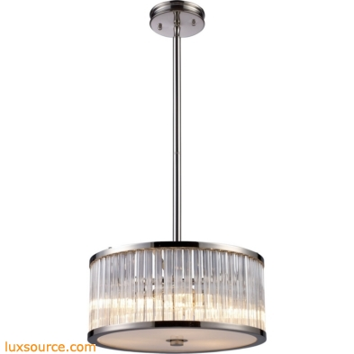 Braxton 3 Light Pendant In Polished Nickel And Ribbed Glass Rods