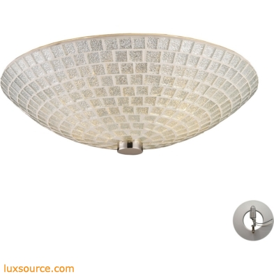 Fusion 2 Light Semi Flush In Satin Nickel And Silver Mosaic Glass - Includes Recessed Lighting Kit 10139/2SLV-LA