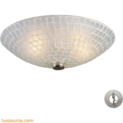 Fusion 2 Light Semi Flush In Satin Nickel And White Mosaic Glass - Includes Recessed Lighting Kit 10139/2WHT-LA