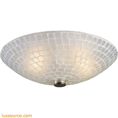 Fusion 2 Light Semi Flush In Satin Nickel And White Mosaic Glass 10139/2WHT