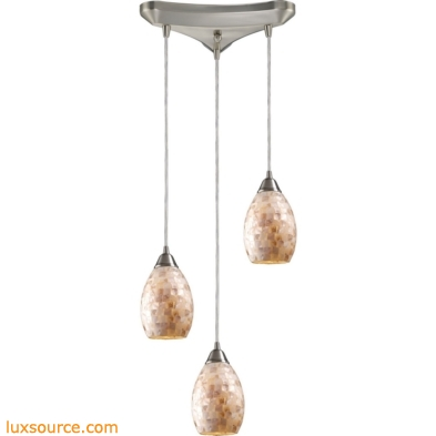 Capri 3 Light Pendant In Satin Nickel And Capiz Shell 10141/3