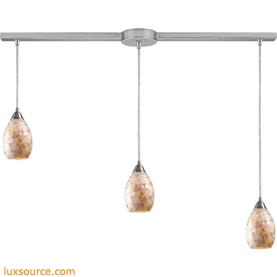Capri 3 Light Pendant In Satin Nickel And Capiz Shell 10141/3L