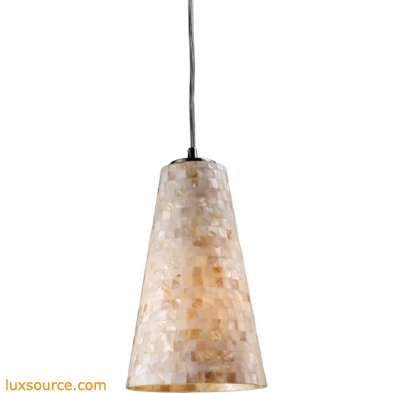 Capri 1 Light LED Pendant In Satin Nickel And Capiz Shell 10142/1-LED