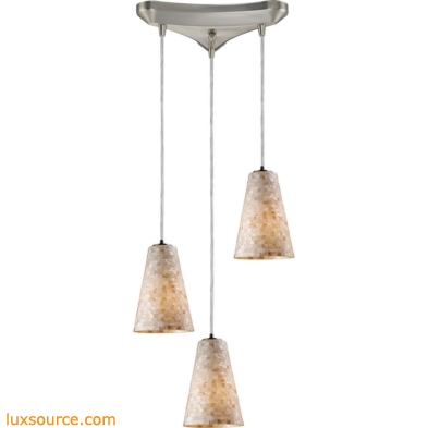 Capri 3 Light Pendant In Satin Nickel And Capiz Shell 10142/3