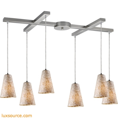 Capri 6 Light Pendant In Satin Nickel And Capiz Shell 10142/6