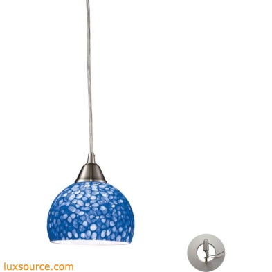 Cira 1 Light Pendant In Satin Nickel With Pebbled Blue Glass - Includes Recessed Lighting Kit 10143/1PB-LA