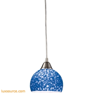 Cira 1 Light Pendant In Satin Nickel With Pebbled Blue Glass 10143/1PB