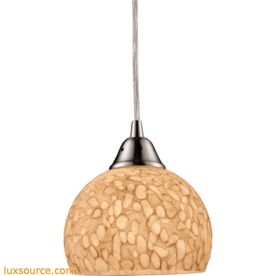 Cira 1 Light LED Pendant In Satin Nickel And Pebbled Gray-White Glass 10143/1PW-LED