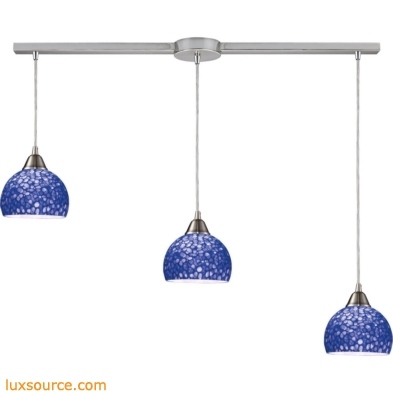 Cira 3 Light Pendant In Satin Nickel With Pebbled Blue Glass 10143/3L-PB