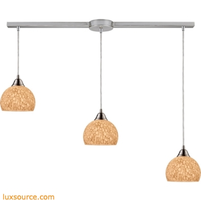 Cira 3 Light Pendant In Satin Nickel And Pebbled Gray-White Glass 10143/3L-PW