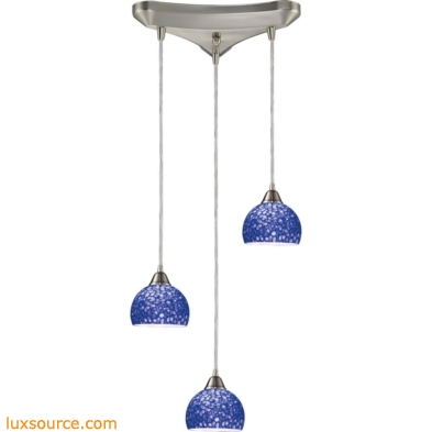 Cira 3 Light Pendant In Satin Nickel With Pebbled Blue Glass 10143/3PB