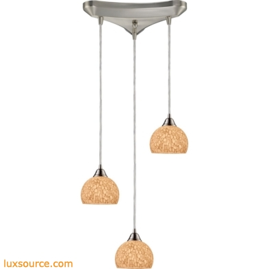 Cira 3 Light Pendant In Satin Nickel And Pebbled Gray-White Glass 10143/3PW