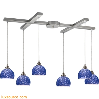 Cira 6 Light Pendant In Satin Nickel With Pebbled Blue Glass 10143/6PB