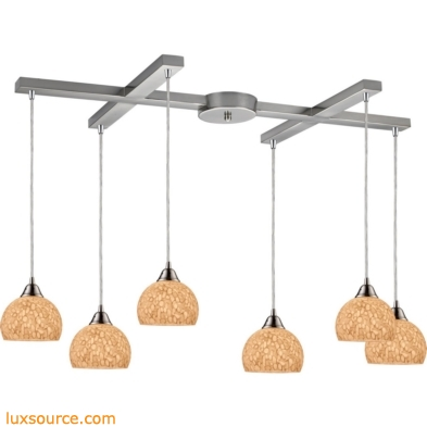 Cira 6 Light Pendant In Satin Nickel And Pebbled Gray-White Glass 10143/6PW