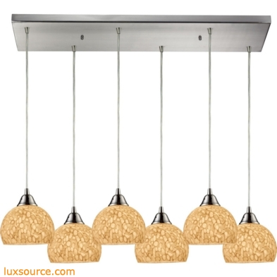 Cira 6 Light Pendant In Satin Nickel Pebbled Gray-White Glass 10143/6RC-PW