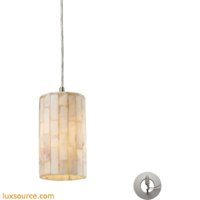 Coletta 1 Light Pendant In Satin Nickel And Genuine Stone - Includes Recessed Lighting Kit 10147/1-LA