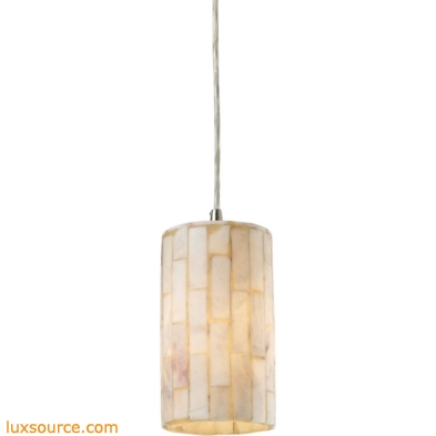Coletta 1 Light LED Pendant In Satin Nickel And Genuine Stone 10147/1-LED