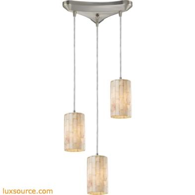 Coletta 3 Light Pendant In Satin Nickel And Genuine Stone 10147/3