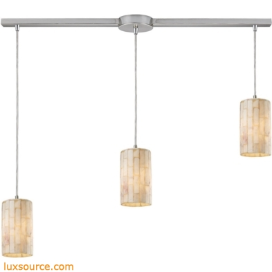 Coletta 3 Light Pendant In Satin Nickel And Genuine Stone 10147/3L