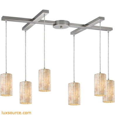 Coletta 6 Light Pendant In Satin Nickel And Genuine Stone 10147/6