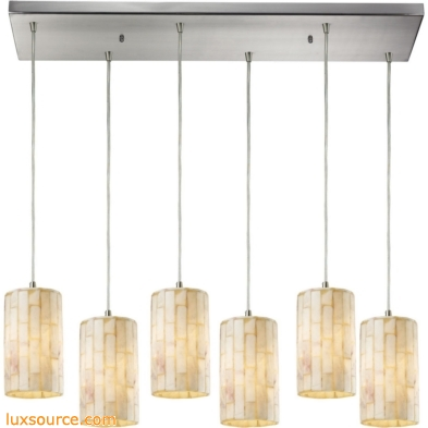 Coletta 6 Light Pendant In Satin Nickel And Genuine Stone 10147/6RC