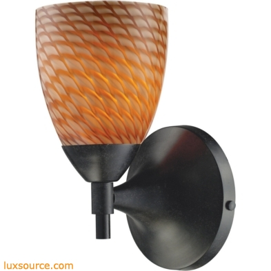 Celina 1 Light Sconce In Dark Rust And Cocoa Glass 10150/1DR-C