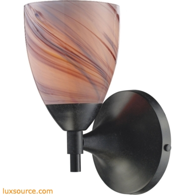 Celina 1 Light Sconce In Dark Rust And Creme Glass 10150/1DR-CR