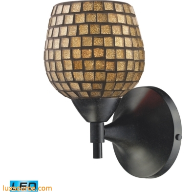 Celina 1 Light LED Sconce In Dark Rust And Gold Glass 10150/1DR-GLD-LED
