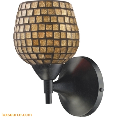 Celina 1 Light Sconce In Dark Rust And Gold Glass 10150/1DR-GLD