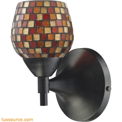Celina 1 Light Sconce In Dark Rust And Multi Fusion Glass 10150/1DR-MLT