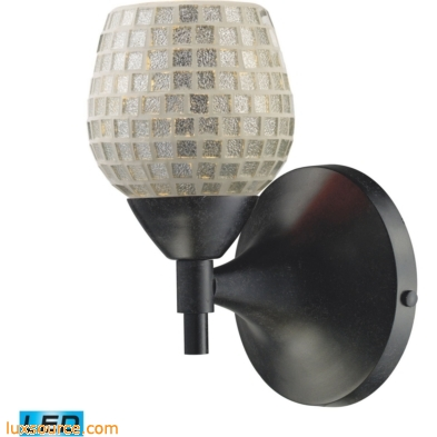Celina 1 Light LED Sconce In Dark Rust And Silver Glass 10150/1DR-SLV-LED