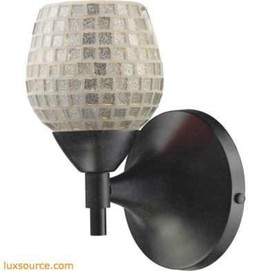 Celina 1 Light Sconce In Dark Rust And Silver Glass 10150/1DR-SLV