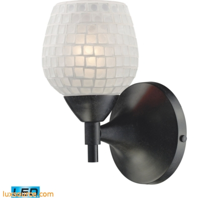 Celina 1 Light LED Sconce In Dark Rust And White 10150/1DR-WHT-LED