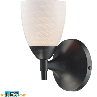 Celina 1 Light Sconce In Dark Rust And White Swirl Glass 10150/1DR-WS-LED