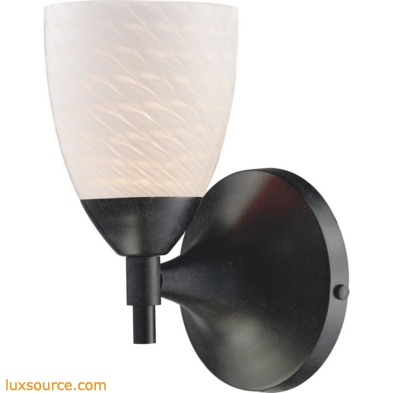 Celina 1 Light Sconce In Dark Rust And White Swirl Glass 10150/1DR-WS