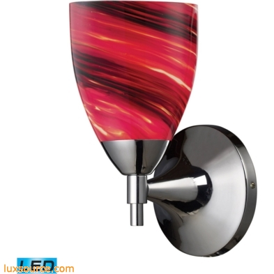 Celina 1 Light LED Sconce In Polished Chrome And Autumn Glass 10150/1PC-A-LED