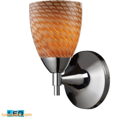 Celina 1 Light LED Sconce In Polished Chrome And Cocoa Glass 10150/1PC-C-LED