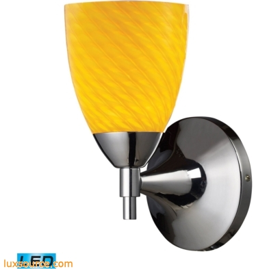 Celina 1 Light LED Sconce In Polished Chrome And Canary Glass 10150/1PC-CN-LED
