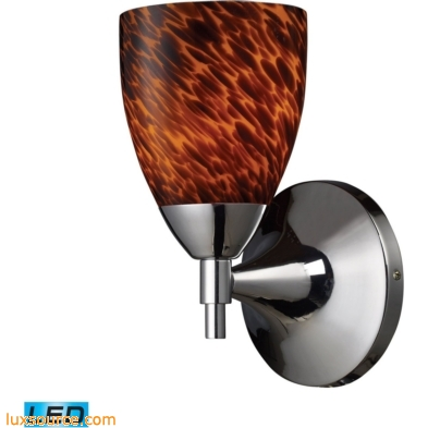 Celina 1 Light LED Sconce In Polished Chrome And Espresso 10150/1PC-ES-LED