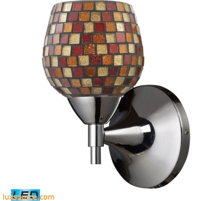 Celina 1 Light LED Sconce In Polished Chrome And Multi Fusion Glass 10150/1PC-MLT-LED
