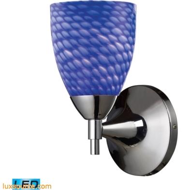Celina 1 Light LED Sconce In Polished Chromew And Sapphire Glass 10150/1PC-S -LED