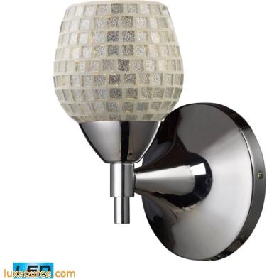 Celina 1 Light LED Sconce In Polished Chrome And Silver Glass 10150/1PC-SLV-LED