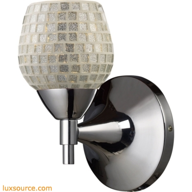 Celina 1 Light Sconce In Polished Chrome And Silver Glass 10150/1PC-SLV
